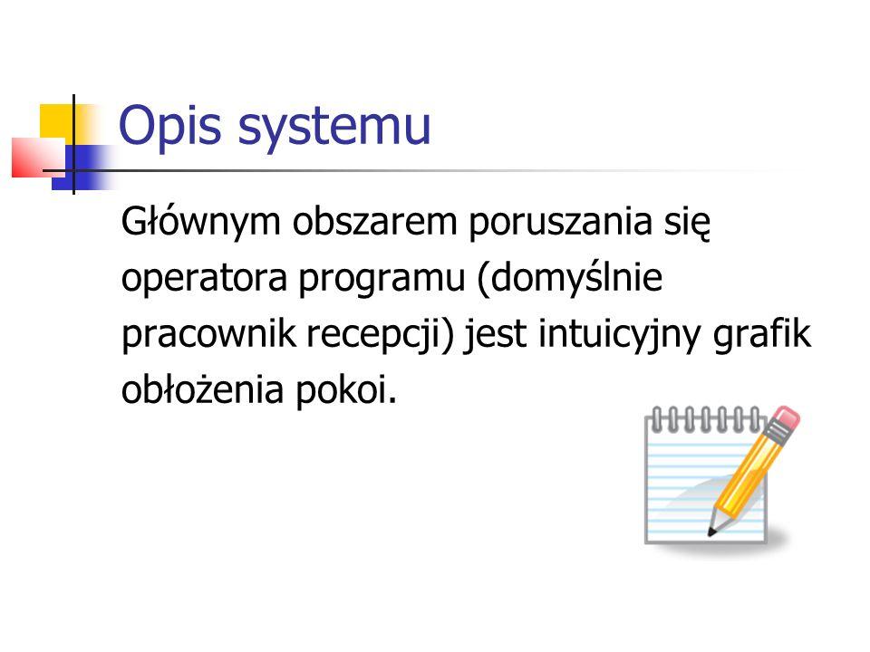 Opis systemu Głównym obszarem poruszania się operatora programu (domyślnie pracownik recepcji) jest intuicyjny grafik obłożenia pokoi.