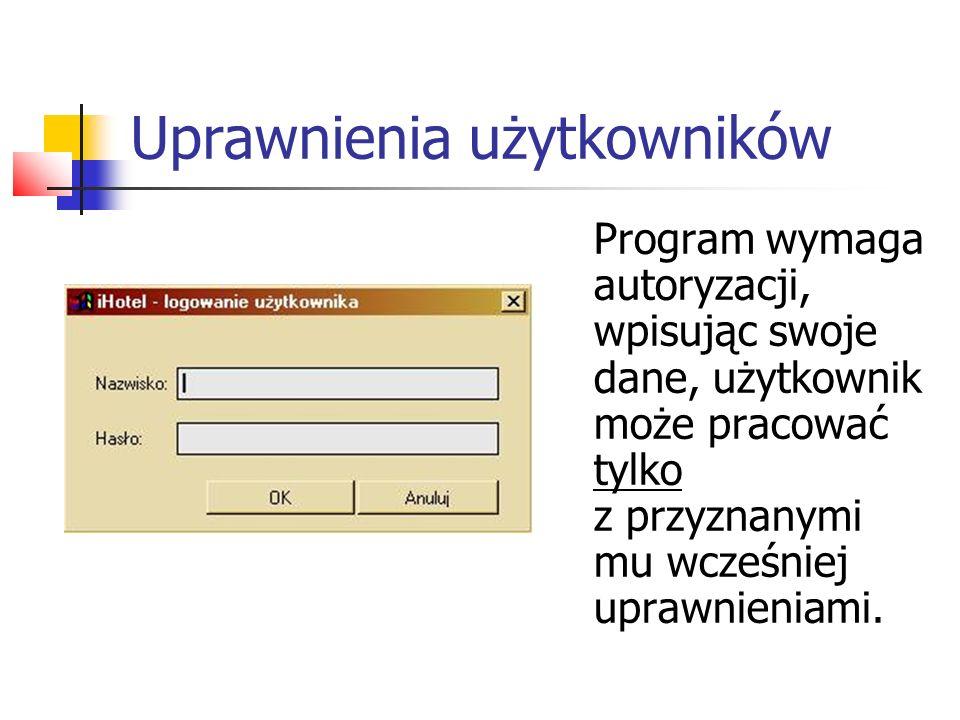 Uprawnienia użytkowników Program wymaga autoryzacji, wpisując swoje dane, użytkownik może pracować tylko z przyznanymi mu wcześniej uprawnieniami.