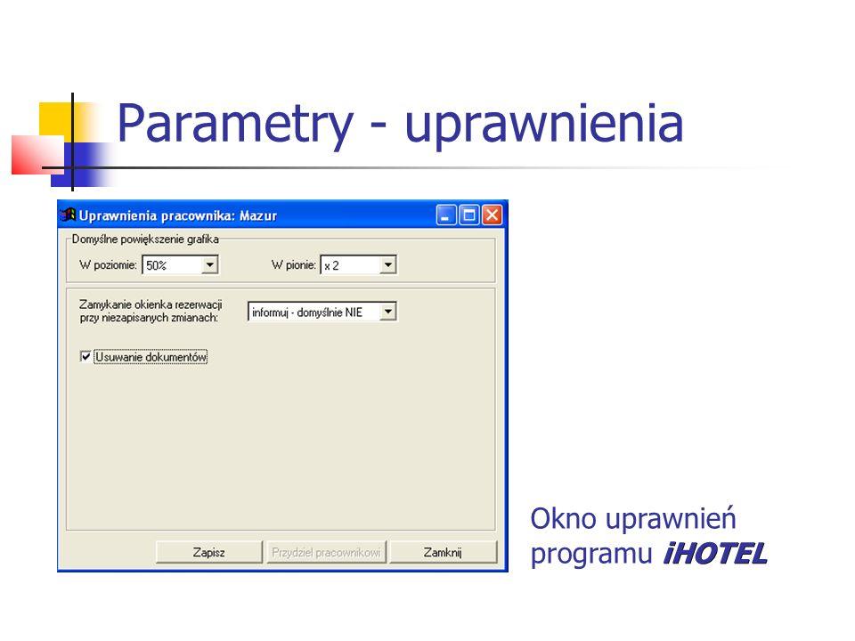 Parametry - uprawnienia Okno uprawnień iHOTEL programu iHOTEL