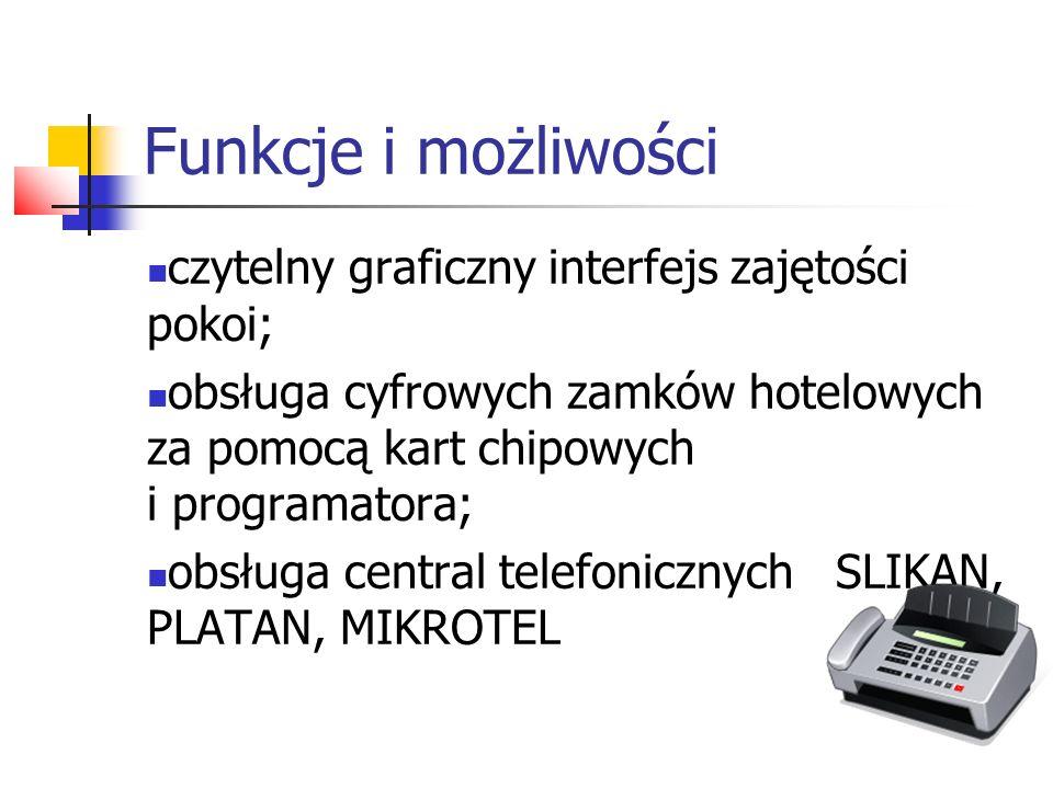 Funkcje i możliwości czytelny graficzny interfejs zajętości pokoi; obsługa cyfrowych zamków hotelowych za pomocą kart chipowych i programatora; obsług