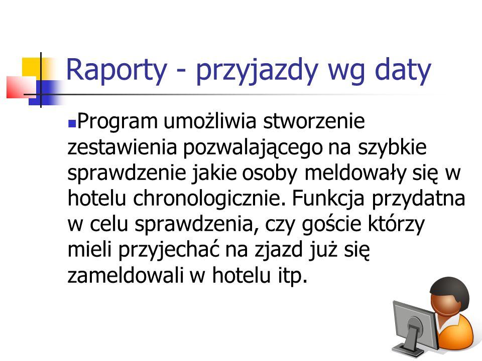 Raporty - przyjazdy wg daty Program umożliwia stworzenie zestawienia pozwalającego na szybkie sprawdzenie jakie osoby meldowały się w hotelu chronolog