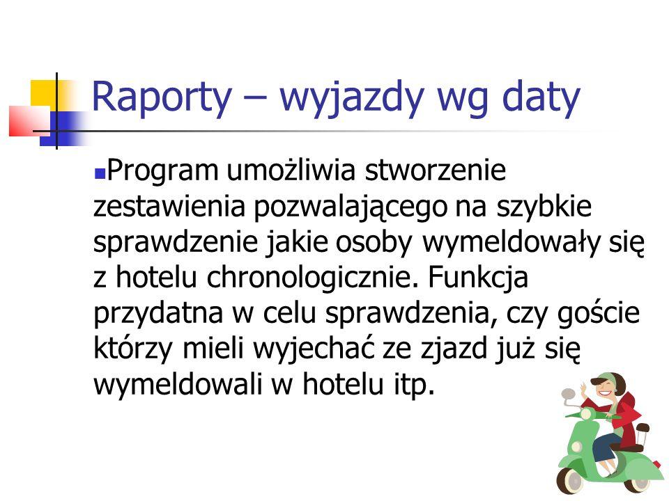 Raporty – wyjazdy wg daty Program umożliwia stworzenie zestawienia pozwalającego na szybkie sprawdzenie jakie osoby wymeldowały się z hotelu chronolog
