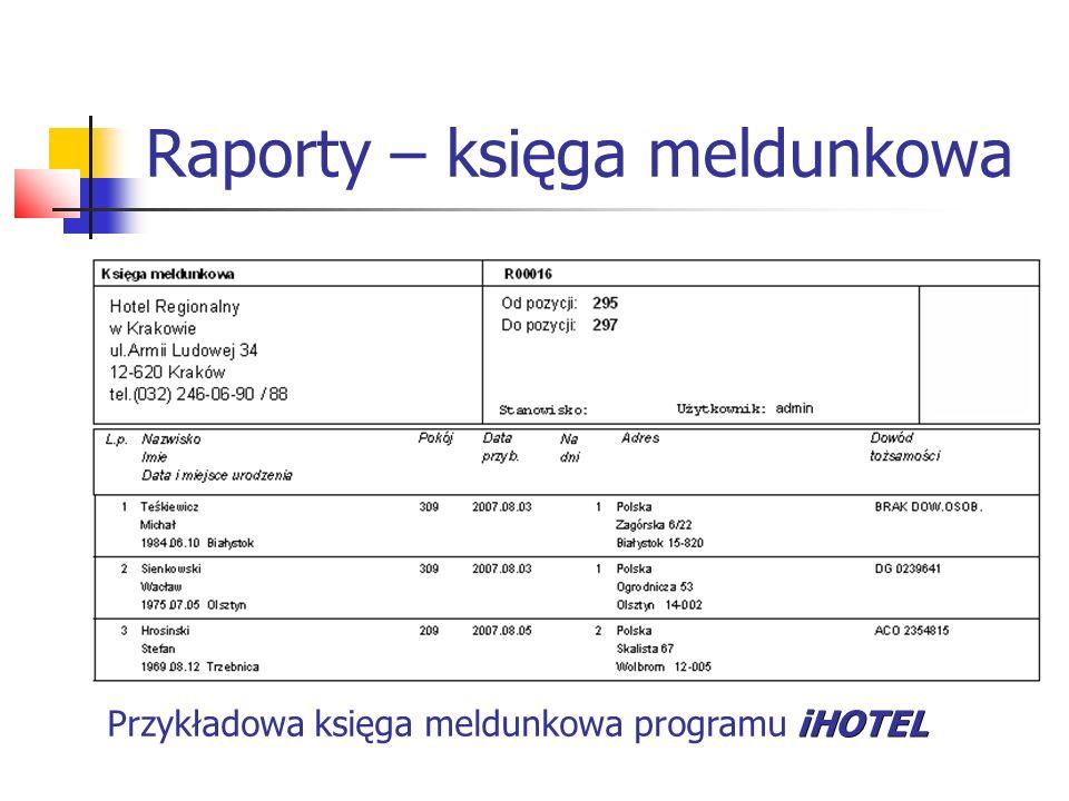 Raporty – księga meldunkowa iHOTEL Przykładowa księga meldunkowa programu iHOTEL