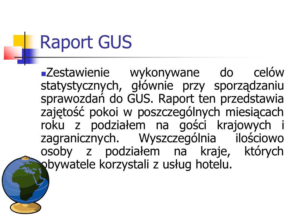 Raport GUS Zestawienie wykonywane do celów statystycznych, głównie przy sporządzaniu sprawozdań do GUS. Raport ten przedstawia zajętość pokoi w poszcz