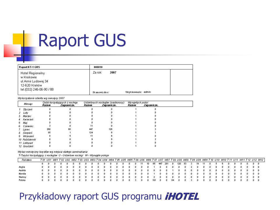 Raport GUS iHOTEL Przykładowy raport GUS programu iHOTEL