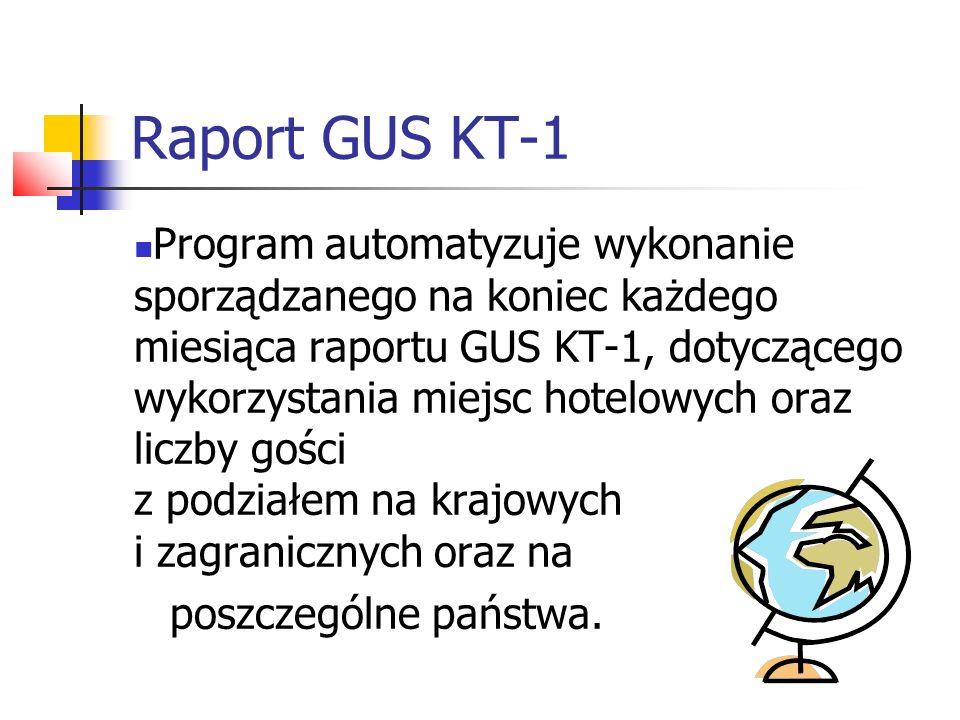 Raport GUS KT-1 Program automatyzuje wykonanie sporządzanego na koniec każdego miesiąca raportu GUS KT-1, dotyczącego wykorzystania miejsc hotelowych
