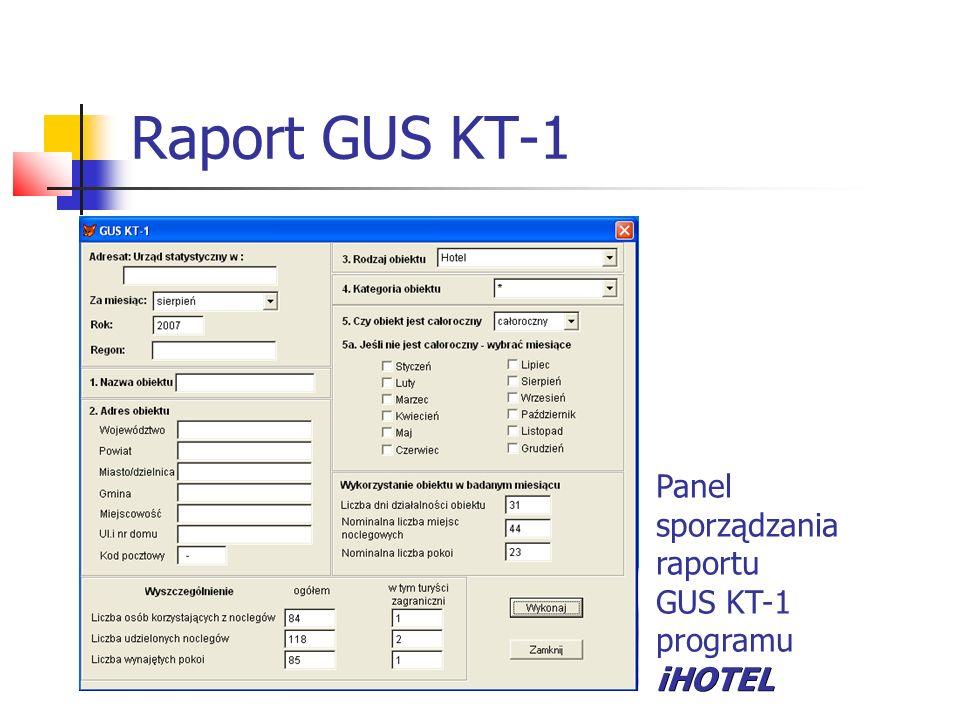 Raport GUS KT-1 Panel sporządzania raportu GUS KT-1 iHOTEL programu iHOTEL
