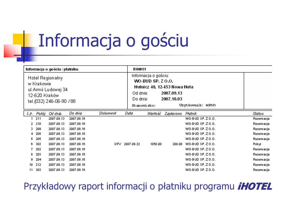 Informacja o gościu iHOTEL Przykładowy raport informacji o płatniku programu iHOTEL