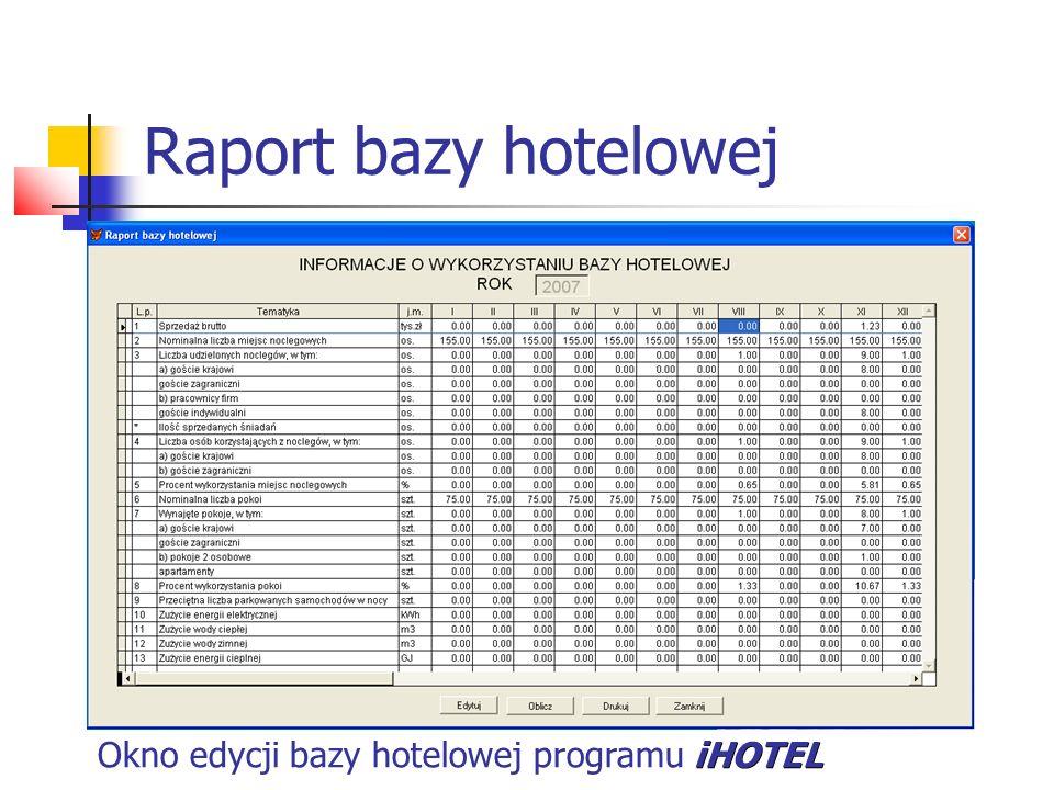 Raport bazy hotelowej iHOTEL Okno edycji bazy hotelowej programu iHOTEL