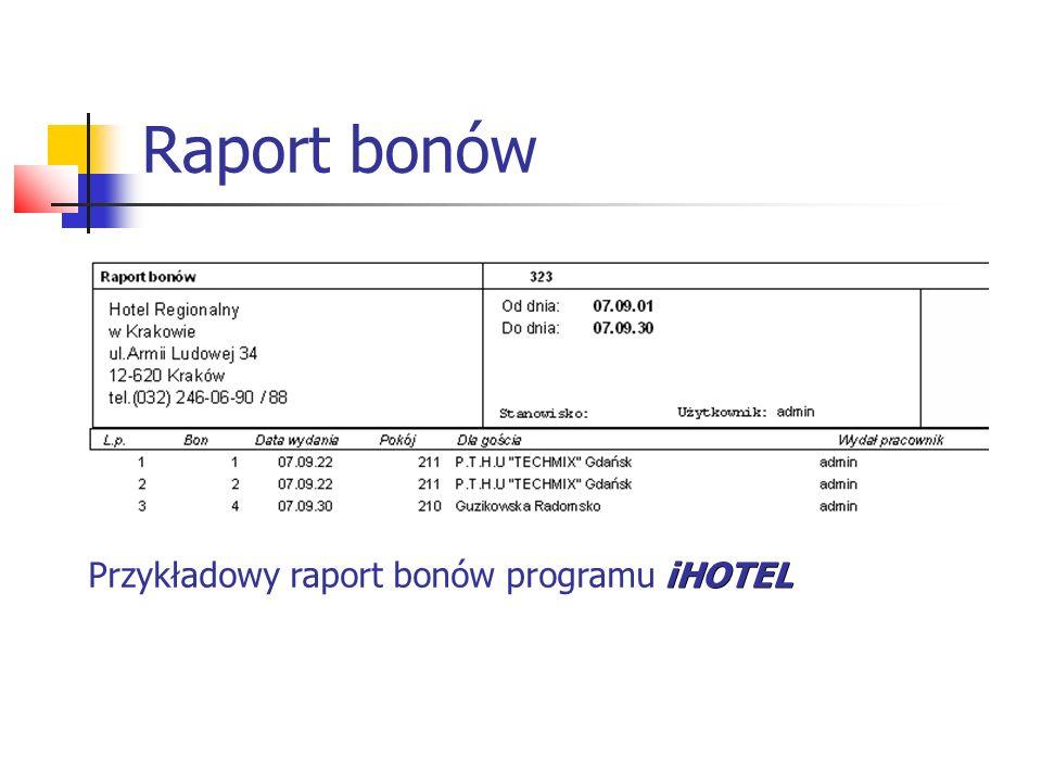 Raport bonów iHOTEL Przykładowy raport bonów programu iHOTEL