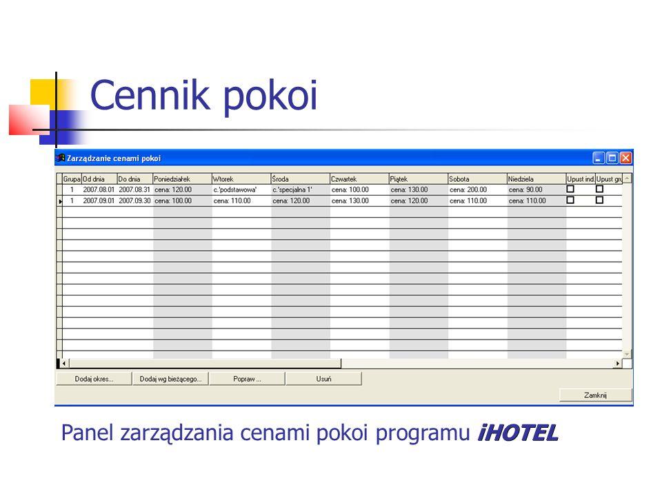 Cennik pokoi iHOTEL Panel zarządzania cenami pokoi programu iHOTEL