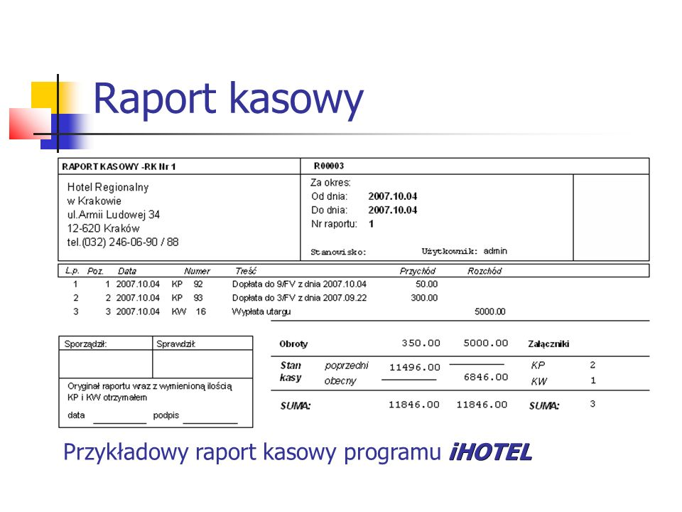 Raport kasowy iHOTEL Przykładowy raport kasowy programu iHOTEL