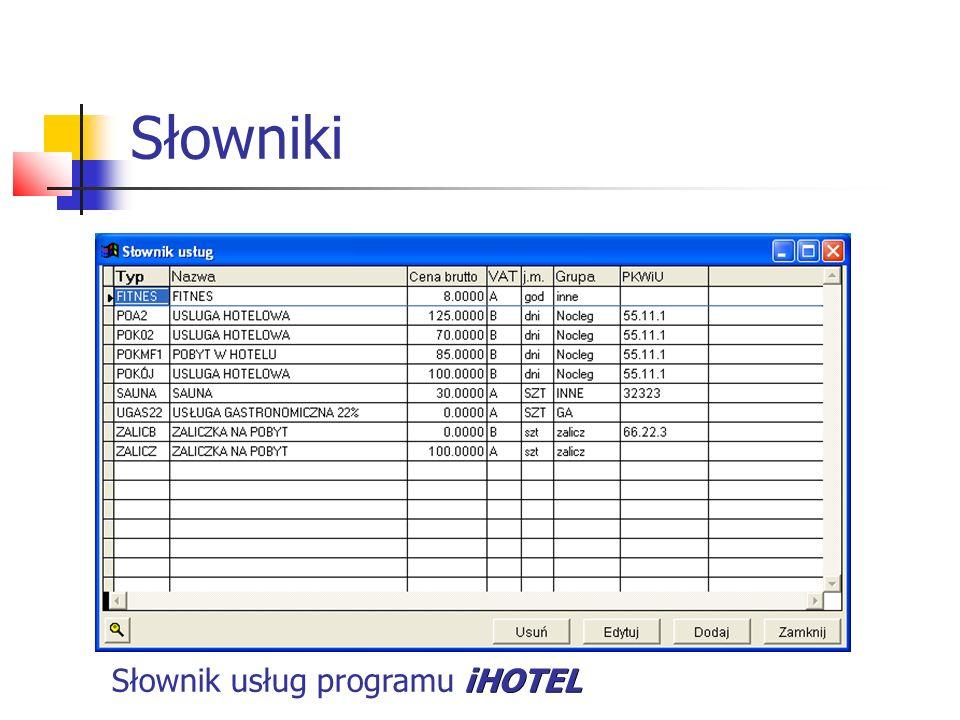 Słowniki iHOTEL Słownik usług programu iHOTEL