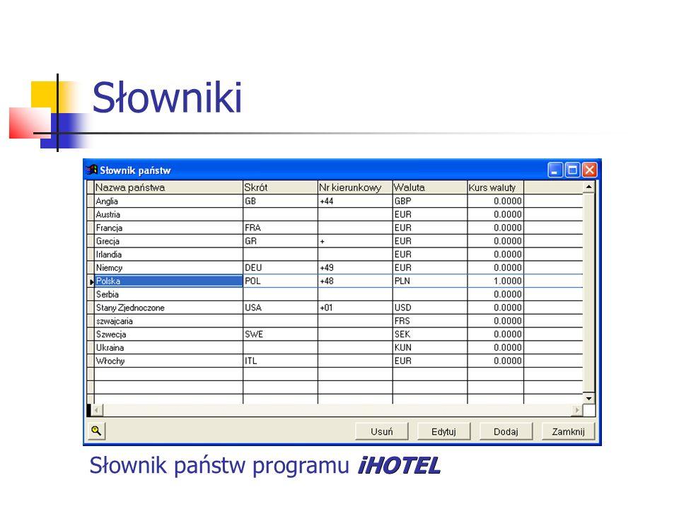 Słowniki iHOTEL Słownik państw programu iHOTEL