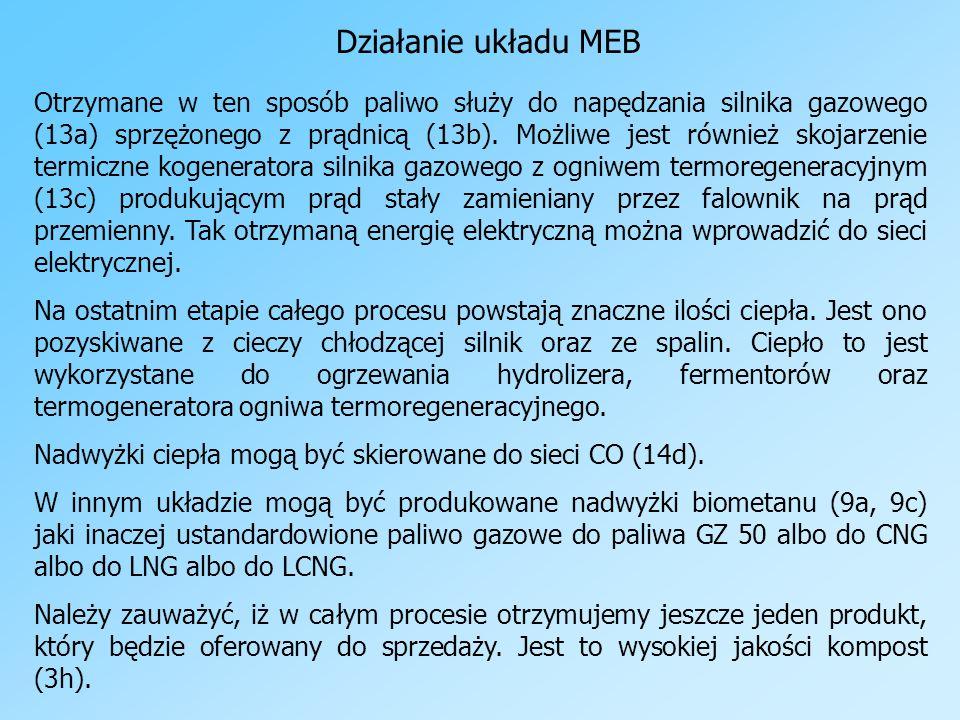 Działanie układu MEB Otrzymane w ten sposób paliwo służy do napędzania silnika gazowego (13a) sprzężonego z prądnicą (13b). Możliwe jest również skoja