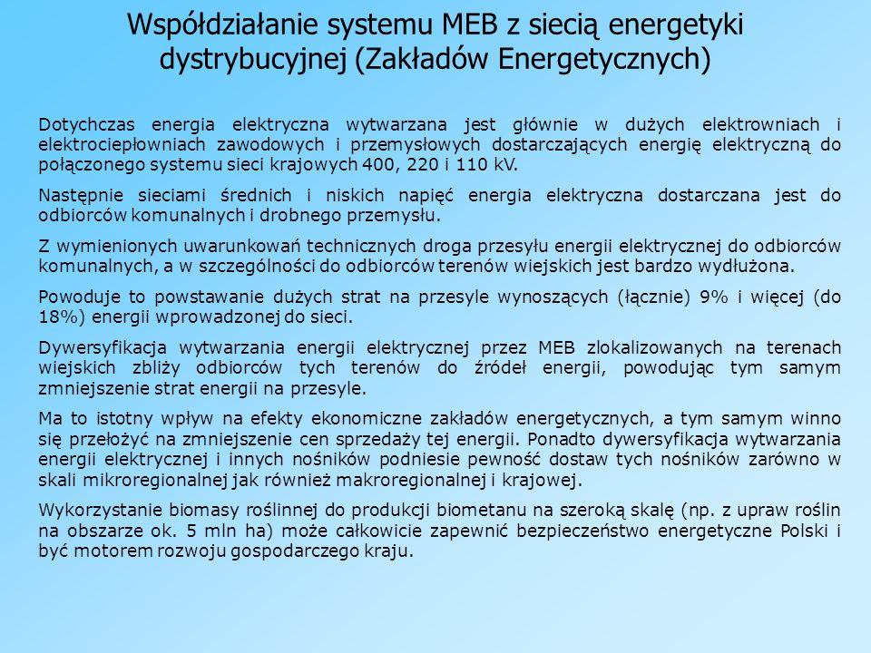 Współdziałanie systemu MEB z siecią energetyki dystrybucyjnej (Zakładów Energetycznych) Dotychczas energia elektryczna wytwarzana jest głównie w dużyc