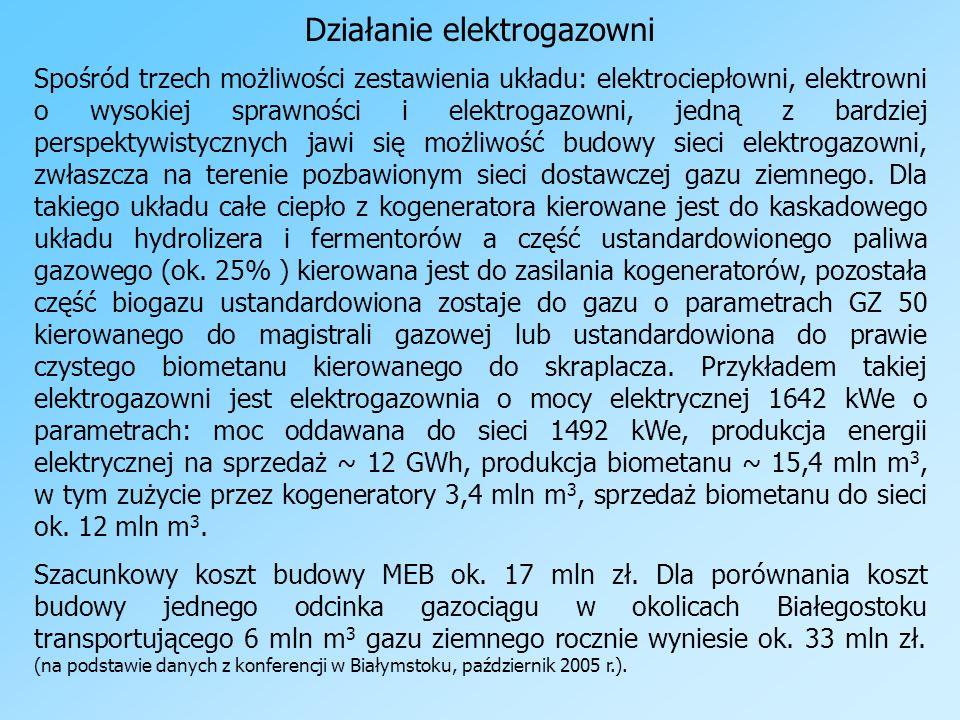 Działanie elektrogazowni Spośród trzech możliwości zestawienia układu: elektrociepłowni, elektrowni o wysokiej sprawności i elektrogazowni, jedną z ba