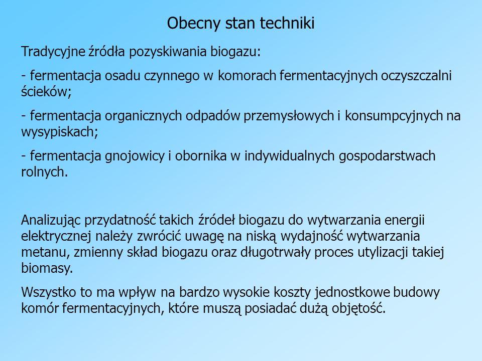 Obecny stan techniki Tradycyjne źródła pozyskiwania biogazu: - fermentacja osadu czynnego w komorach fermentacyjnych oczyszczalni ścieków; - fermentac