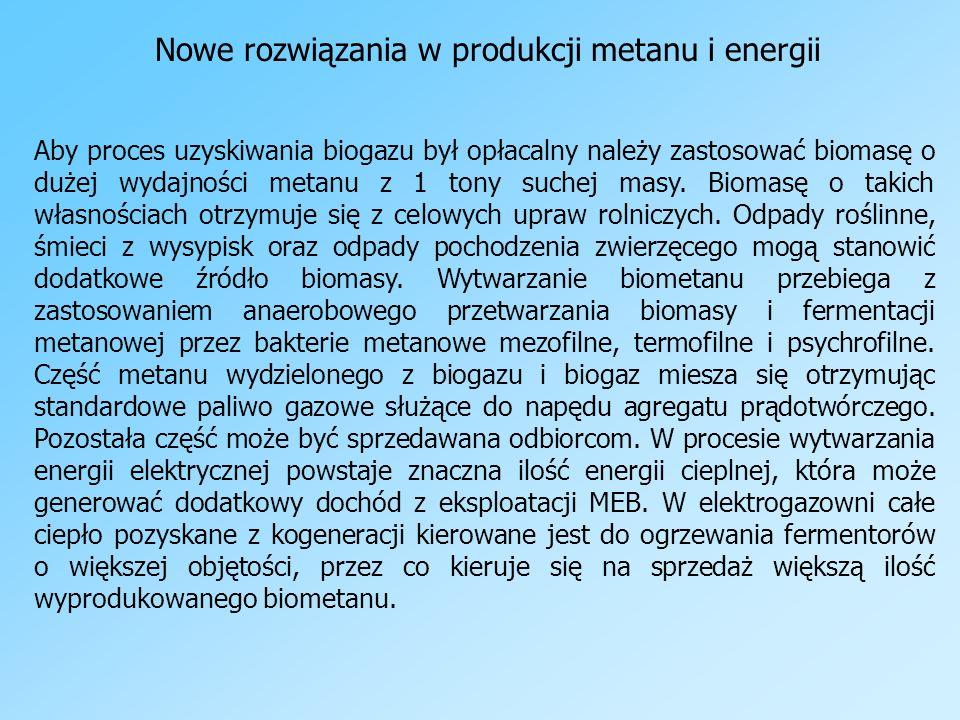 Nowe rozwiązania w produkcji metanu i energii Aby proces uzyskiwania biogazu był opłacalny należy zastosować biomasę o dużej wydajności metanu z 1 ton