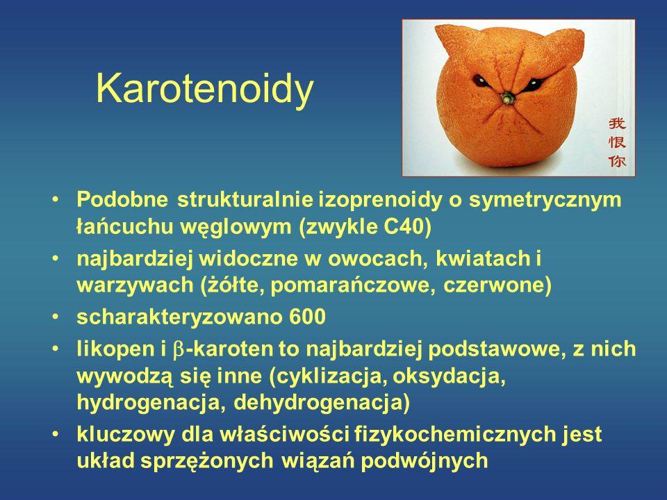 Karotenoidy Podobne strukturalnie izoprenoidy o symetrycznym łańcuchu węglowym (zwykle C40) najbardziej widoczne w owocach, kwiatach i warzywach (żółt