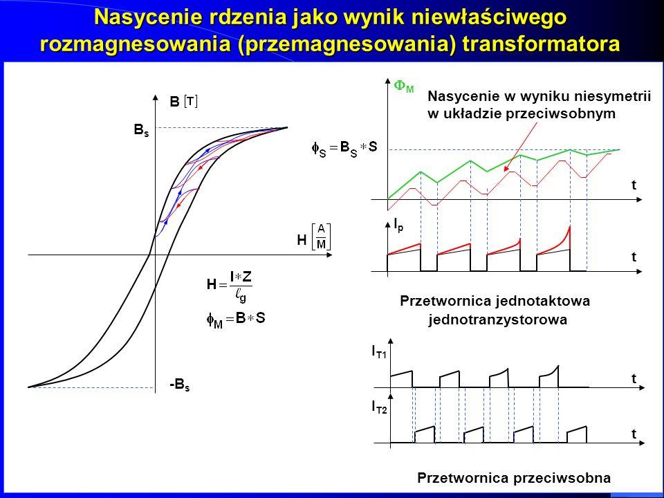 Nasycenie rdzenia jako wynik niewłaściwego rozmagnesowania (przemagnesowania) transformatora B H BsBsBsBs -B s M t t IpIp Przetwornica jednotaktowa je