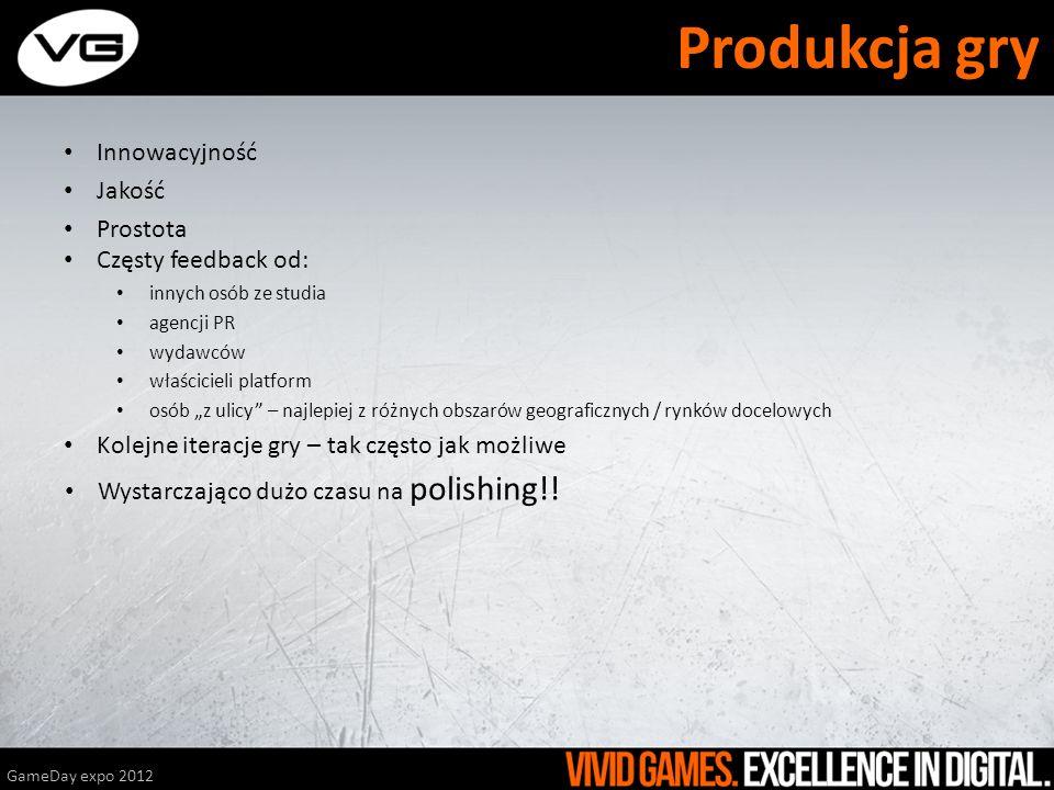 Produkcja gry Innowacyjność Jakość Prostota GameDay expo 2012 Częsty feedback od: innych osób ze studia agencji PR wydawców właścicieli platform osób