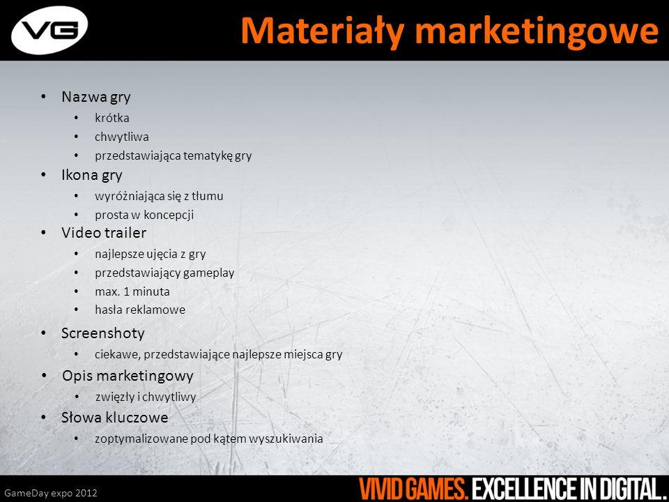 Nazwa gry krótka chwytliwa przedstawiająca tematykę gry GameDay expo 2012 Materiały marketingowe Ikona gry wyróżniająca się z tłumu prosta w koncepcji