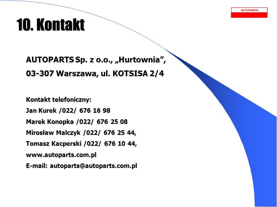 10. Kontakt AUTOPARTS Sp. z o.o., Hurtownia, 03-307 Warszawa, ul. KOTSISA 2/4 Kontakt telefoniczny: Jan Kurek /022/ 676 16 98 Marek Konopka /022/ 676