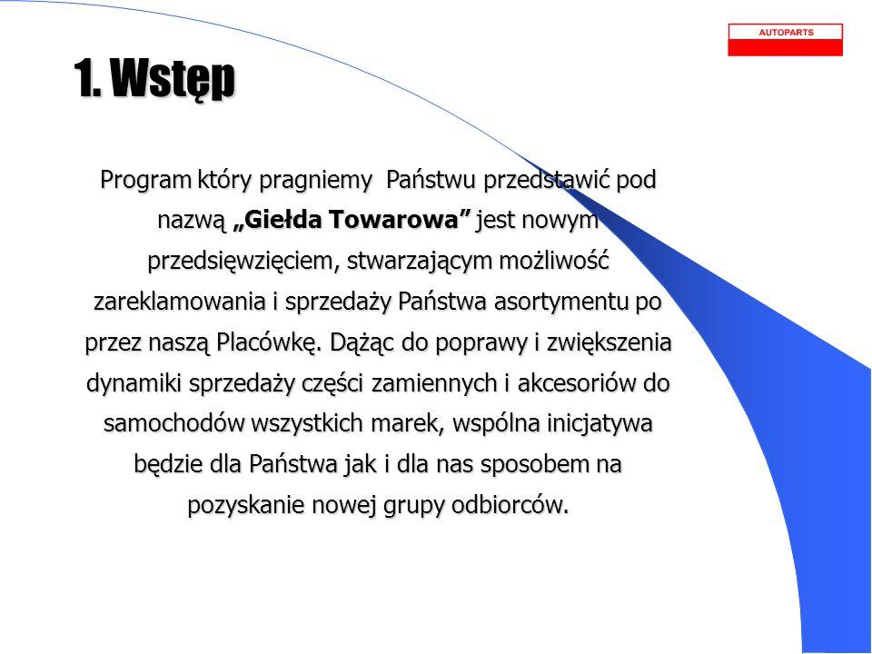 1. Wstęp Program który pragniemy Państwu przedstawić pod nazwą Giełda Towarowa jest nowym przedsięwzięciem, stwarzającym możliwość zareklamowania i sp