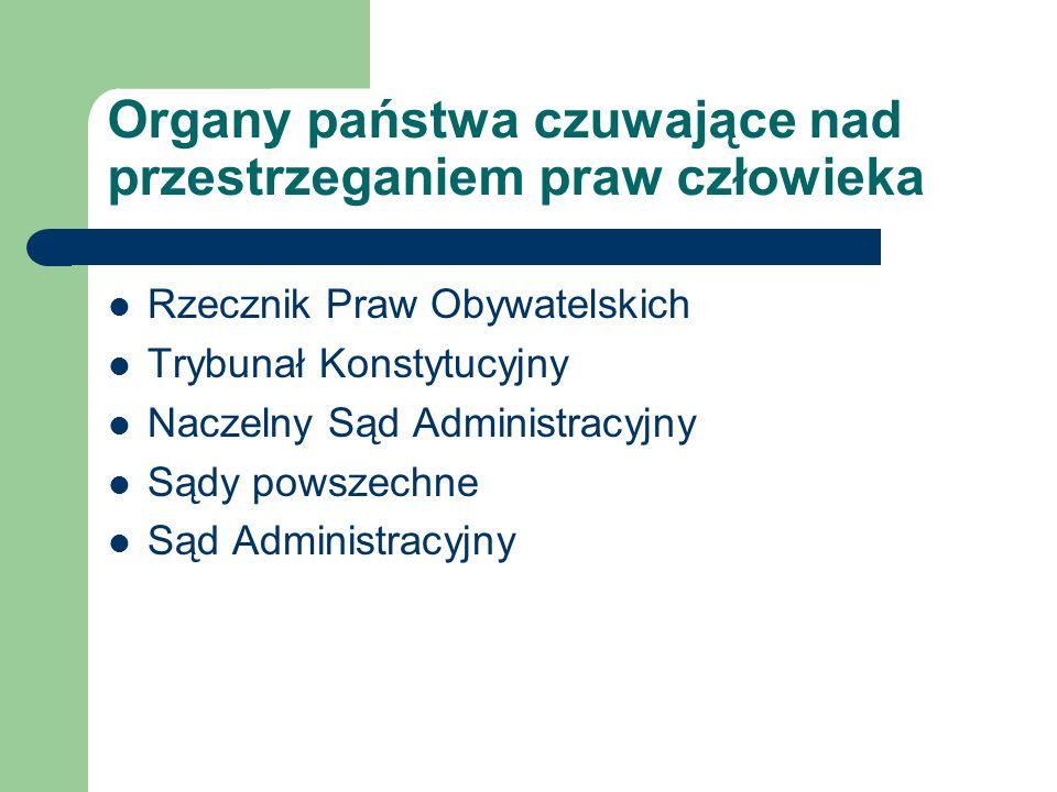 Organizacje pozarządowe i międzynarodowe Amnesty International; Komitet Helsiński i Helsińska Fundacja Praw Człowieka.