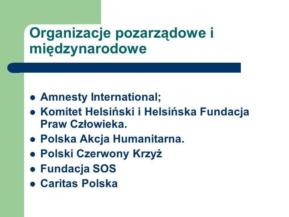 Organizacje pozarządowe i międzynarodowe Amnesty International; Komitet Helsiński i Helsińska Fundacja Praw Człowieka. Polska Akcja Humanitarna. Polsk
