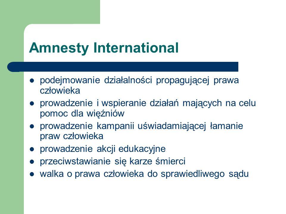 Amnesty International podejmowanie działalności propagującej prawa człowieka prowadzenie i wspieranie działań mających na celu pomoc dla więźniów prow