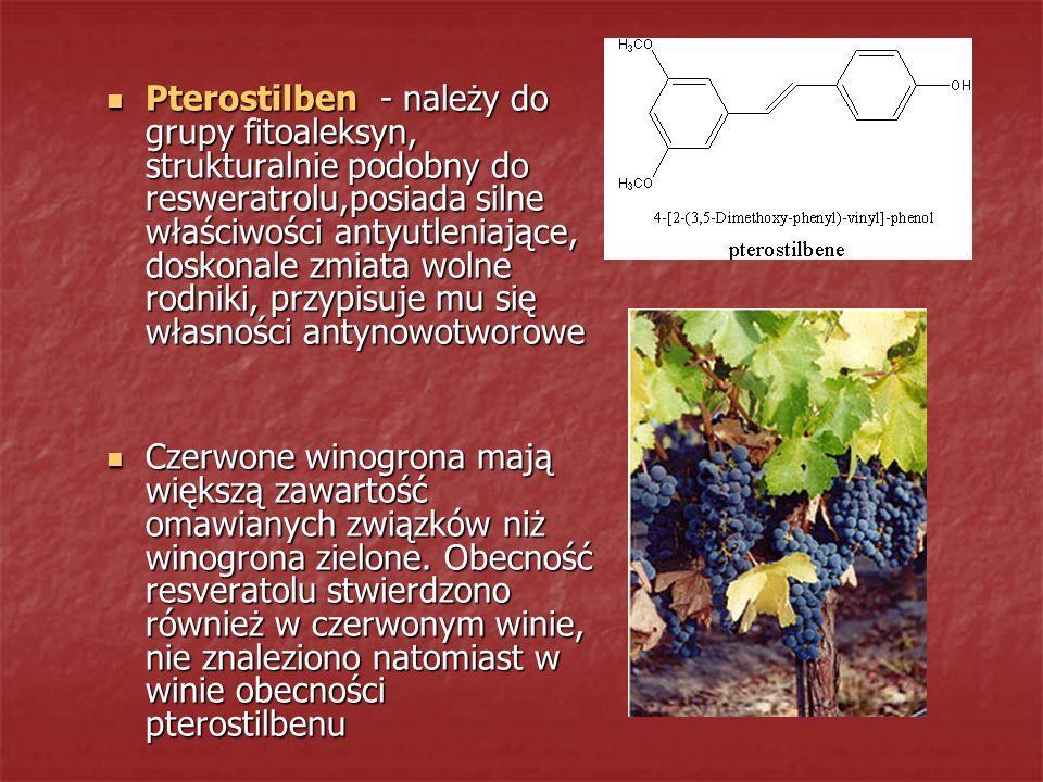 Pterostilben - należy do grupy fitoaleksyn, strukturalnie podobny do resweratrolu,posiada silne właściwości antyutleniające, doskonale zmiata wolne ro