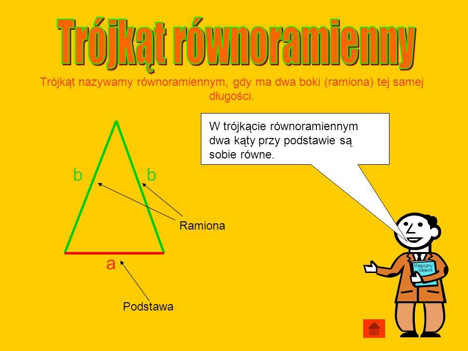 Podstawa Ramiona a bb Trójkąt nazywamy równoramiennym, gdy ma dwa boki (ramiona) tej samej długości. Magiczny kajecik W trójkącie równoramiennym dwa k