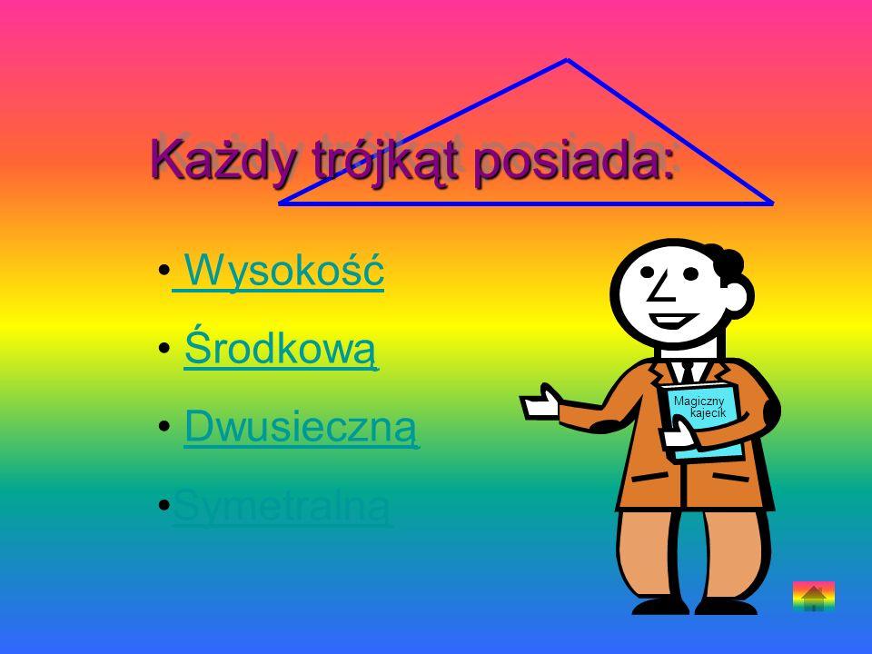 Wysokość Środkową Dwusieczną Symetralną Magiczny kajecik Każdy trójkąt posiada: