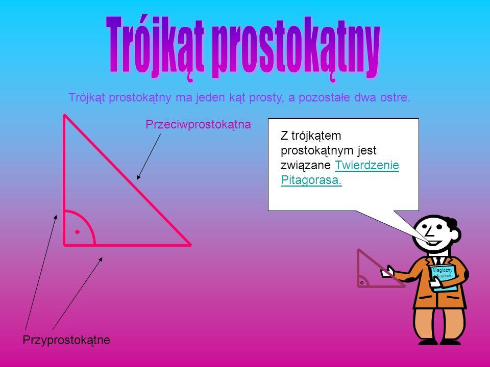 Przyprostokątne Przeciwprostokątna Trójkąt prostokątny ma jeden kąt prosty, a pozostałe dwa ostre. Z trójkątem prostokątnym jest związane Twierdzenie