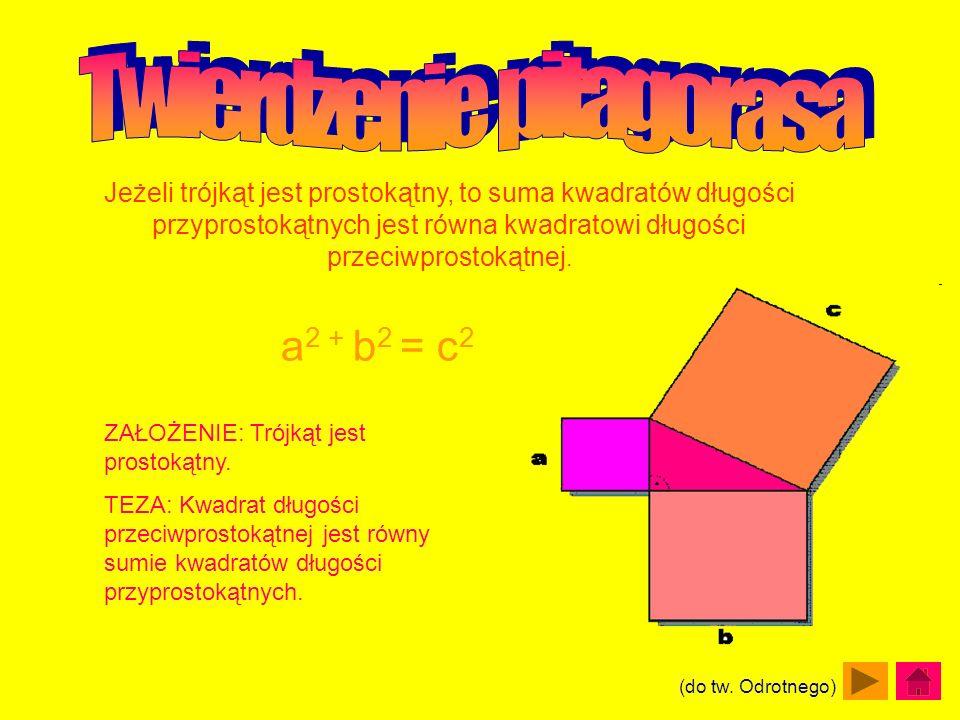 Jeżeli trójkąt jest prostokątny, to suma kwadratów długości przyprostokątnych jest równa kwadratowi długości przeciwprostokątnej. a 2 + b 2 = c 2 ZAŁO