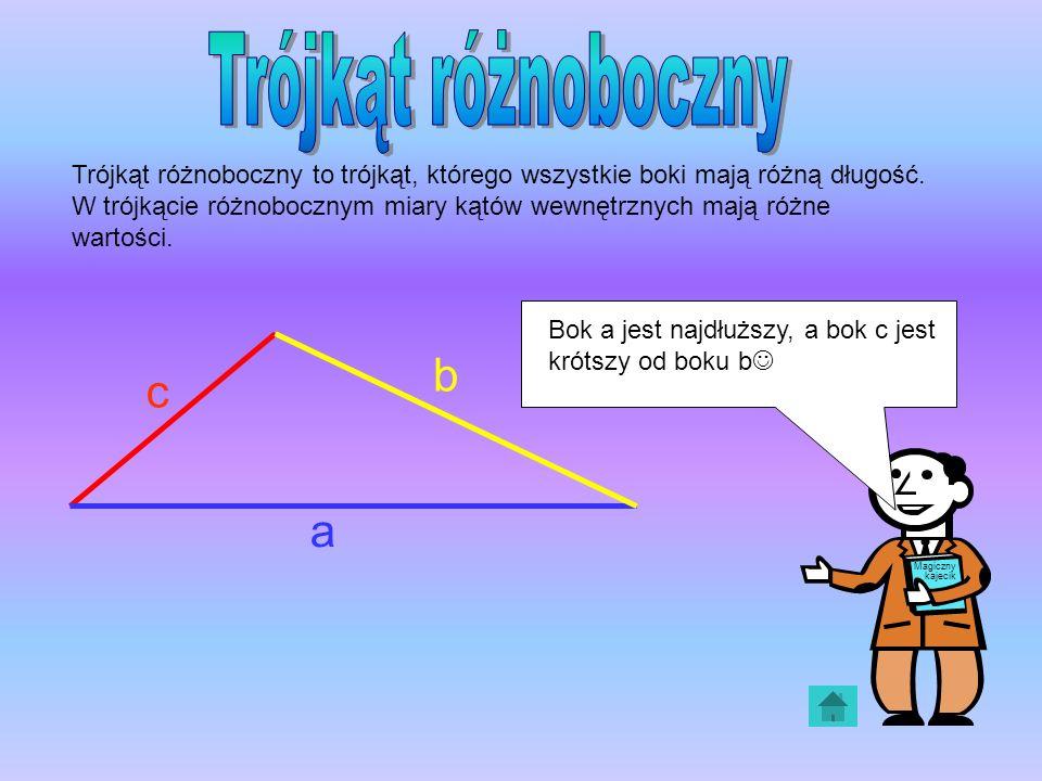 Trójkąt różnoboczny to trójkąt, którego wszystkie boki mają różną długość. W trójkącie różnobocznym miary kątów wewnętrznych mają różne wartości. a b