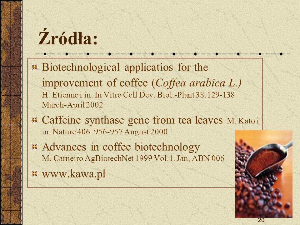 20 Źródła: Biotechnological applicatios for the improvement of coffee (Coffea arabica L.) H. Etienne i in. In Vitro Cell Dev. Biol.-Plant 38:129-138 M