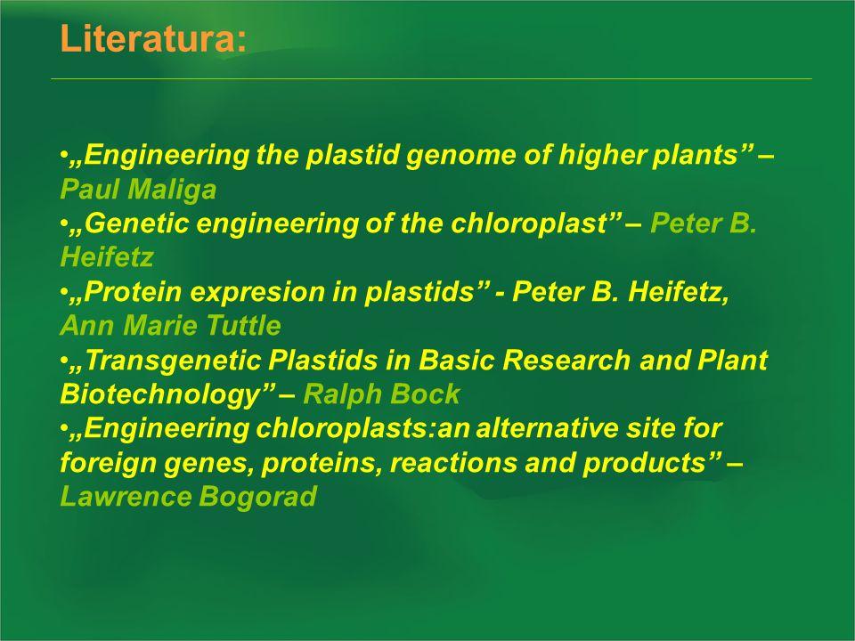 Literatura: Engineering the plastid genome of higher plants – Paul Maliga Genetic engineering of the chloroplast – Peter B. Heifetz Protein expresion
