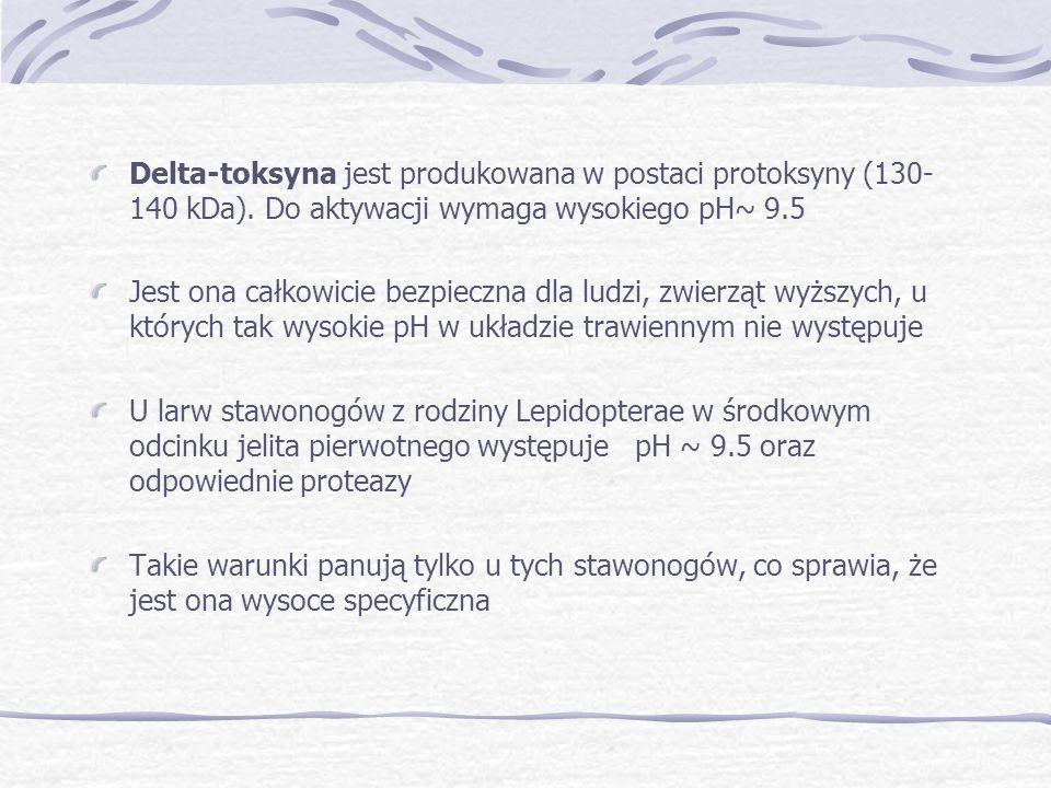 Delta-toksyna jest produkowana w postaci protoksyny (130- 140 kDa). Do aktywacji wymaga wysokiego pH~ 9.5 Jest ona całkowicie bezpieczna dla ludzi, zw