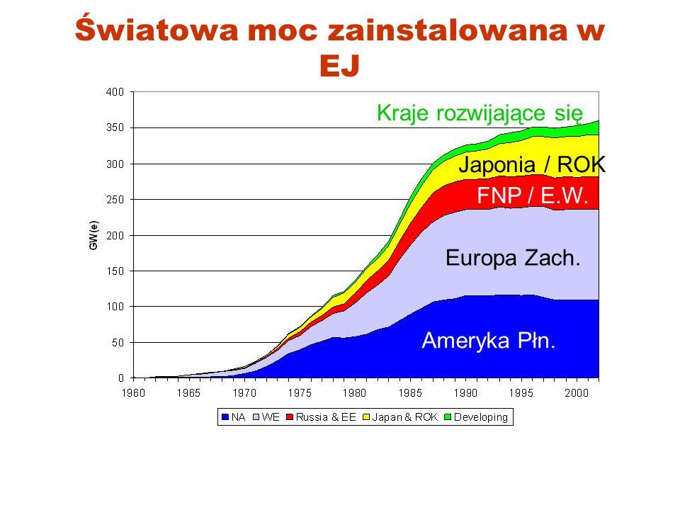 Udział EJ w producji en.el. (2004) USA 20%Rep. Korea 38%China 2%Sweden 52%France 78%Germany 32%Japan 29%Russia 16%
