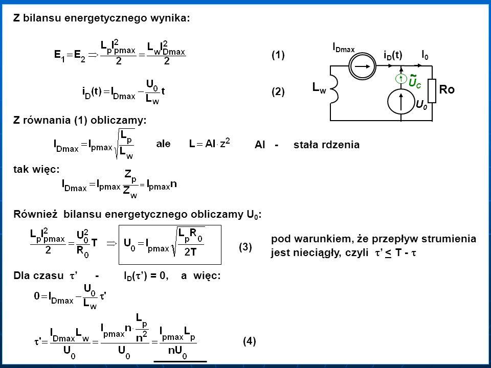 Z bilansu energetycznego wynika: (1) (2) U0U0 Ro II0II0 ~ UCUC LwLw I I Dmax i i D (t) Z równania (1) obliczamy: Al - stała rdzenia tak więc: Również