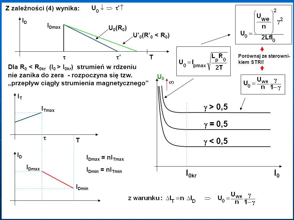 Z zależności (4) wynika: IDIDIDID I Dmax T U 0 (R 0 ) U 0 (R 0 < R 0 ) I 0kr = 0,5 = 0,5 > 0,5 > 0,5 I0I0I0I0 < 0,5 < 0,5 Porównaj ze sterowni- kiem S