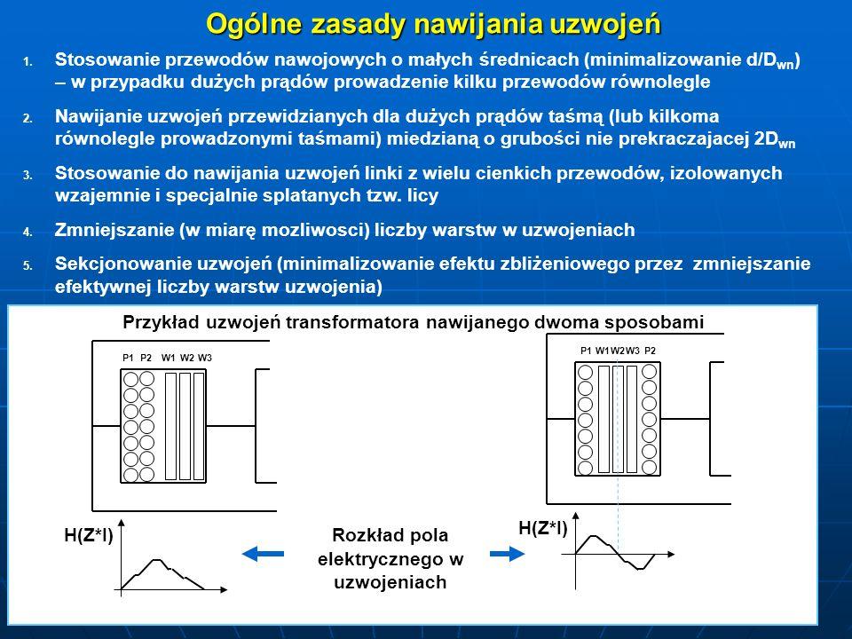 Ogólne zasady nawijania uzwojeń 1. 1. Stosowanie przewodów nawojowych o małych średnicach (minimalizowanie d/D wn ) – w przypadku dużych prądów prowad