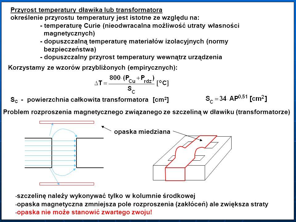 Przyrost temperatury dławika lub transformatora określenie przyrostu temperatury jest istotne ze względu na: - temperaturę Curie (nieodwracalna możliw