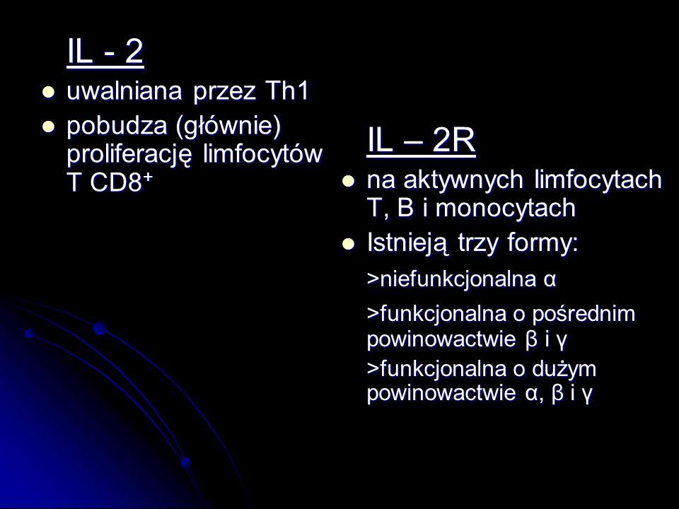IL - 2 uwalniana przez Th1 uwalniana przez Th1 pobudza (głównie) proliferację limfocytów T CD8 + pobudza (głównie) proliferację limfocytów T CD8 + IL