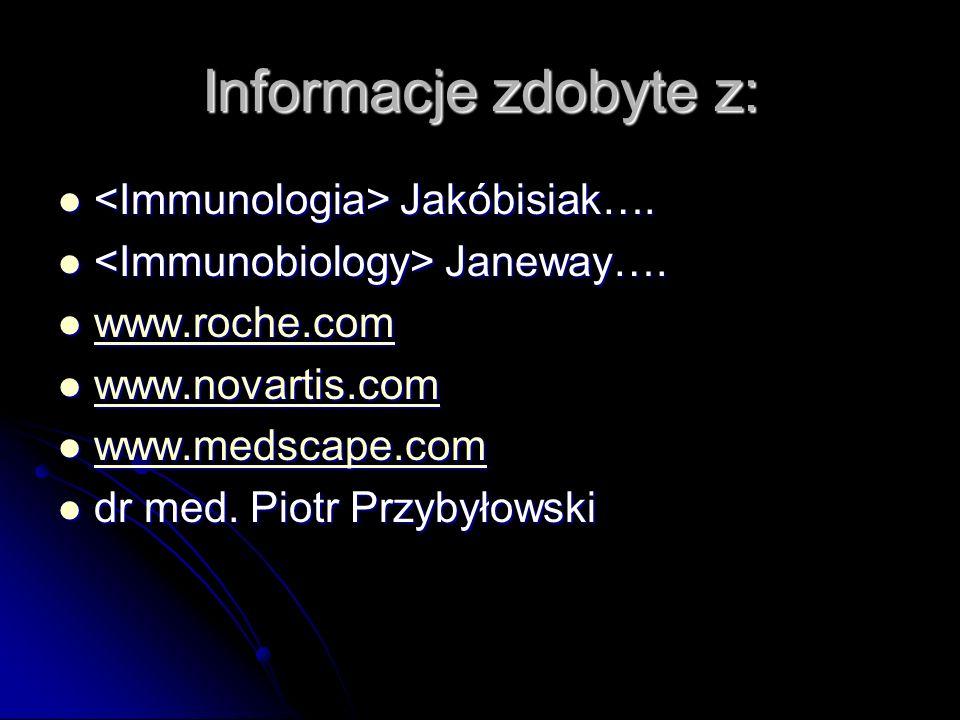 Informacje zdobyte z: Jakóbisiak…. Jakóbisiak…. Janeway…. Janeway…. www.roche.com www.roche.com www.roche.com www.novartis.com www.novartis.com www.no