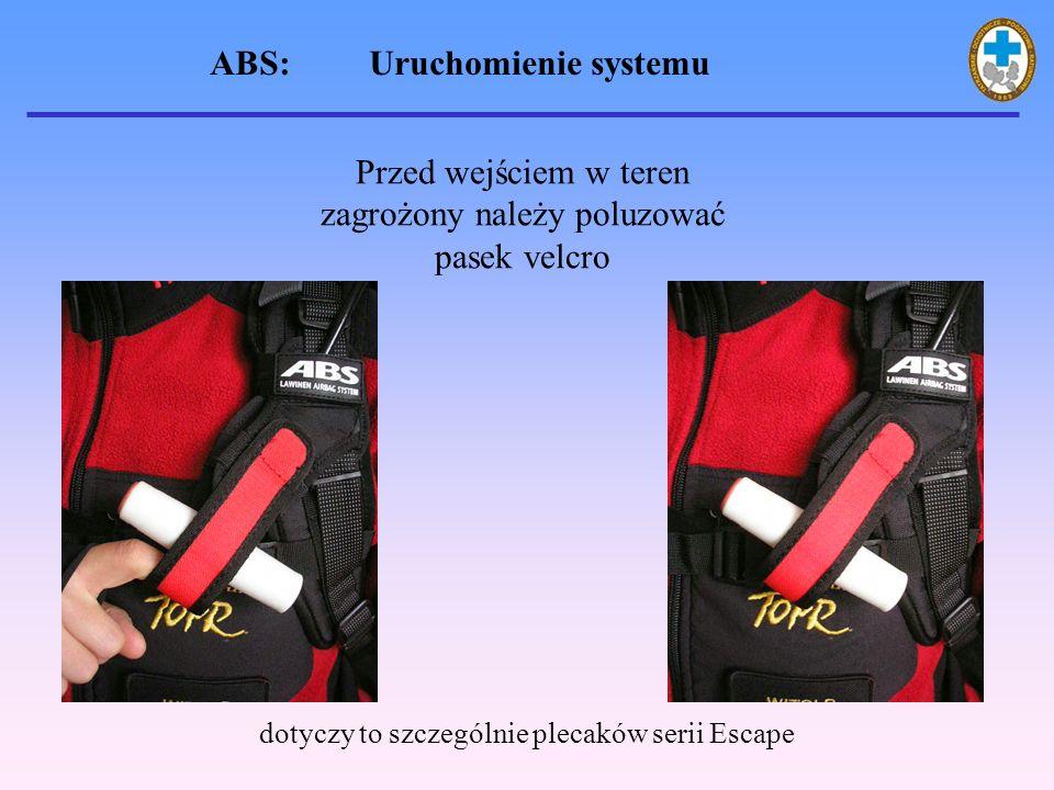 ABS: Uruchomienie systemu Przed wejściem w teren zagrożony należy poluzować pasek velcro dotyczy to szczególnie plecaków serii Escape