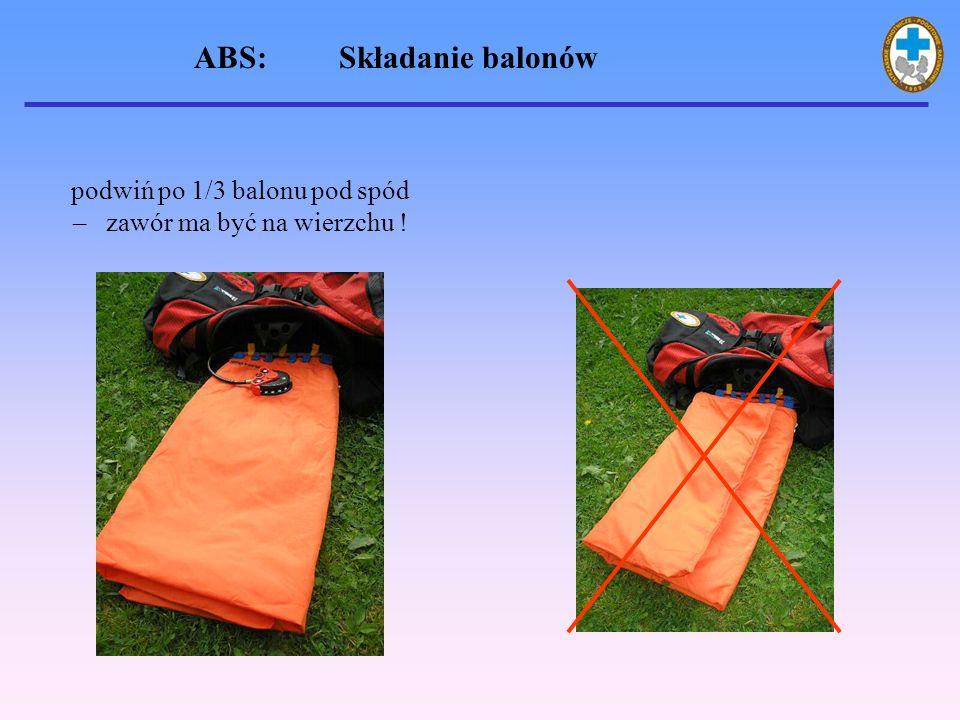 podwiń po 1/3 balonu pod spód – zawór ma być na wierzchu ! ABS: Składanie balonów